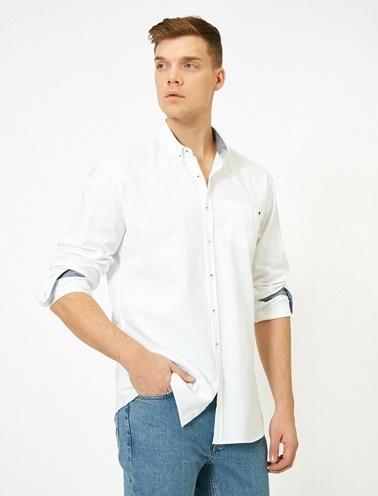 Koton Cep Detayli Gömlek Beyaz